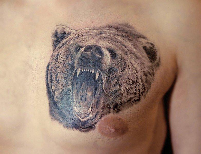 роли, фото татуировок с изображением медведя древности этот минерал