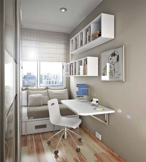 Дизайн небольшого домашнего кабинета - В белом цвете