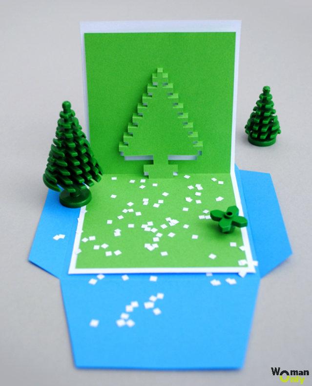 Открытка с елкой объемной из бумаги, подписывать открытки память