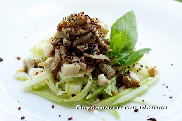 Салат с вешенками фото-рецепт