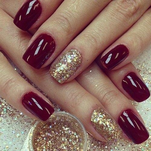 Красный с золотым дизайн ногтей
