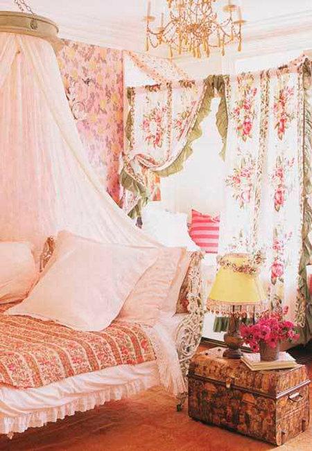 шторы  шебби шик с крупными цветами