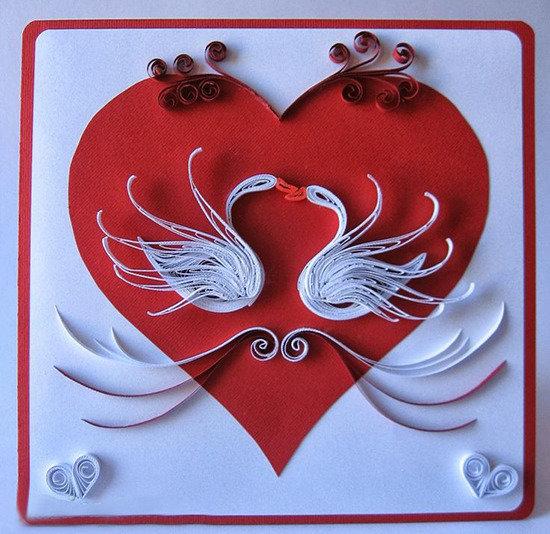 Квиллинг открытка ко дню влюбленных