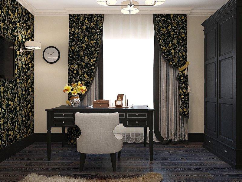 Монохромные стены с золотым орнаментом прекрасно дополнят кабинет в темных тонах.