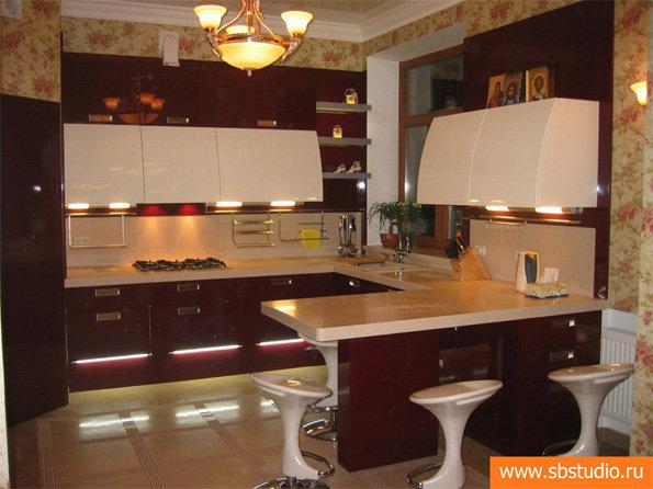 дизайн кухни-столовой-гостиной с барной стойкой в частном доме фото #7