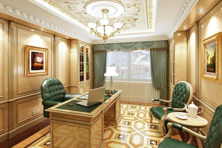 Рабочий кабинет в классическом стиле с зеленой обивкой мебели