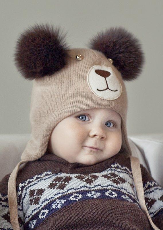 Восхитительная детская зимняя шапка шуми Shumi Design из итальянской пряжи  и натурального меха лисицы.Теплая 195ac2698f526