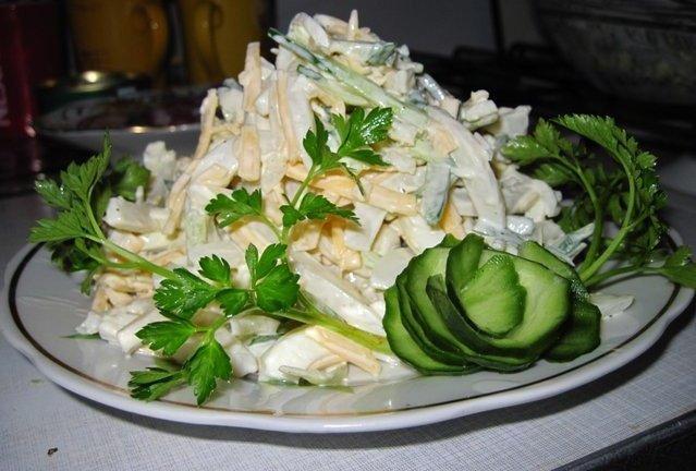 рецепты салата с кальмаров в фото