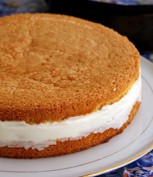 Торт бисквит с творожным кремом и фруктами