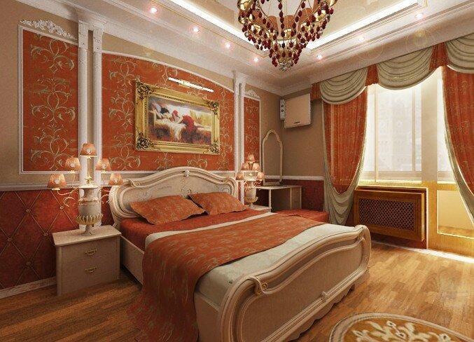 Оранжевая спальня с картиной над изголовьем