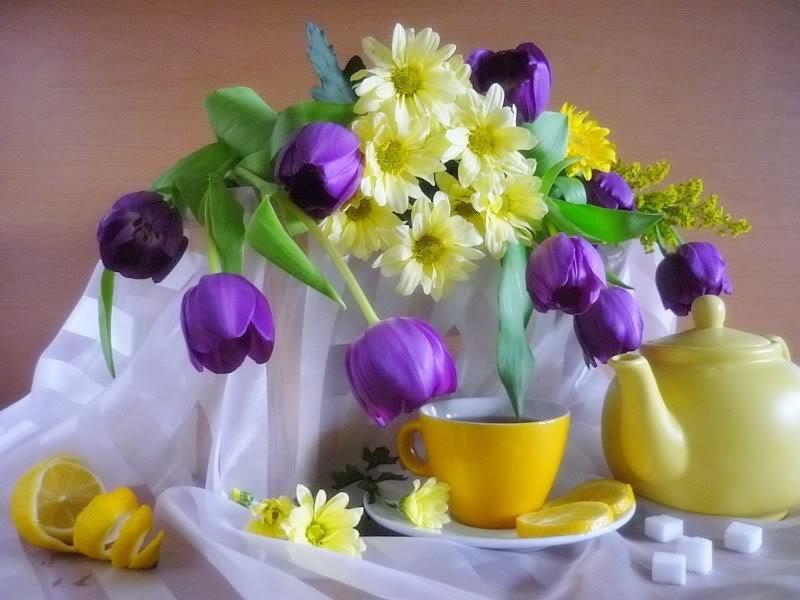 Открытки с добрым утром и хорошего дня с цветами