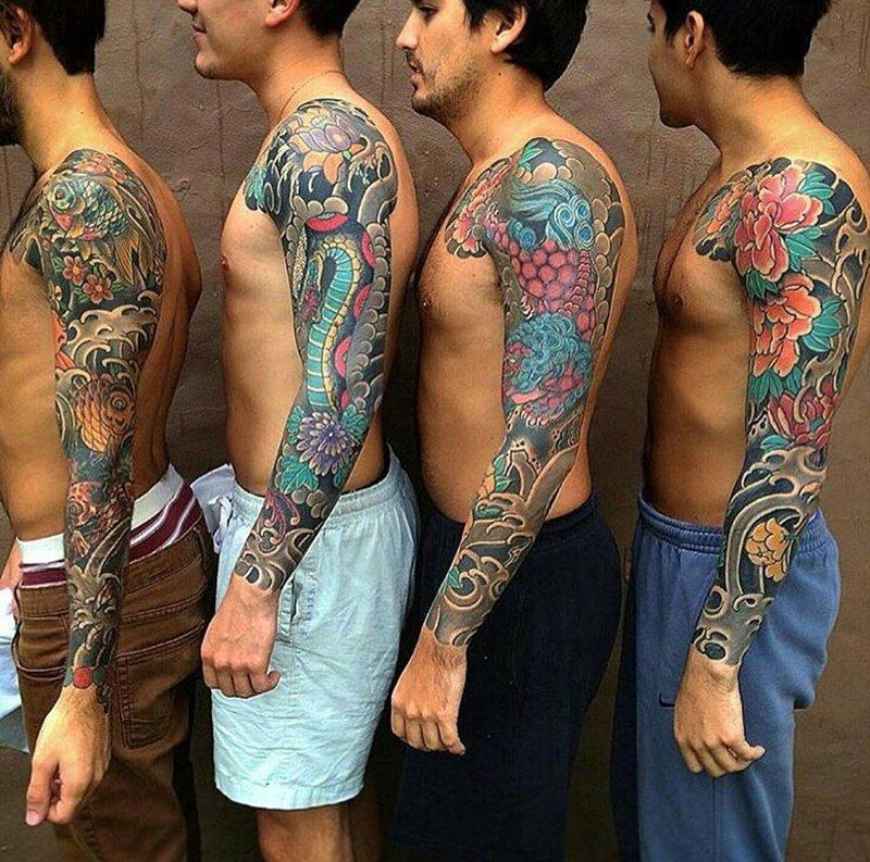 Тату рукава. Татуировки в японском стиле на всю руку.