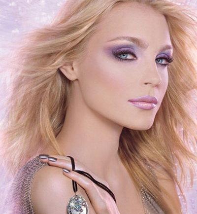 Лавандовый макияж голубых глаз