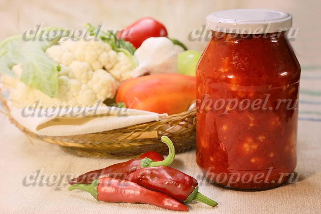 рецепт на зиму цветная капуста в томатном соусе