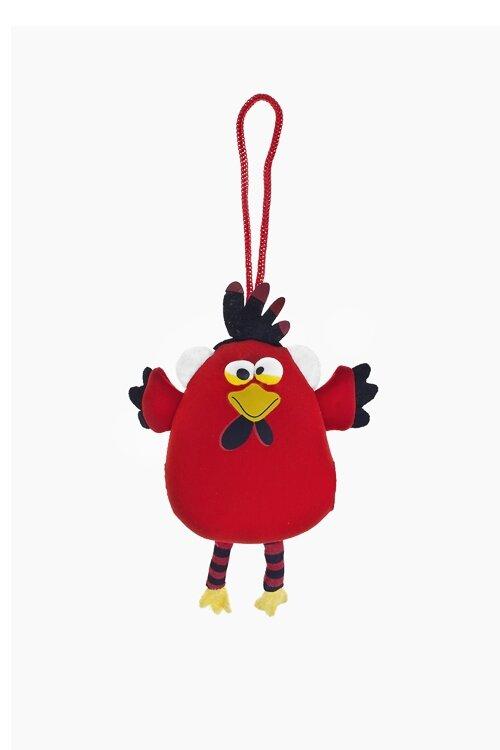 """Игрушка мягконабивная """"Веселый цыпленок"""", Выс=15см, текстиль, красная, подвесная"""