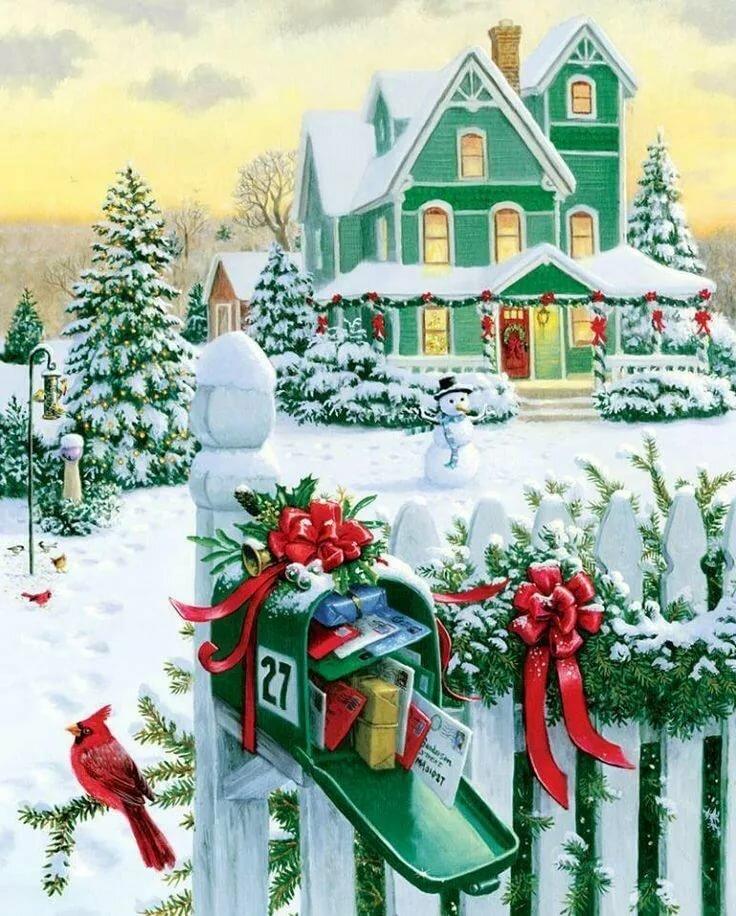 приходить только новогодний домик картинка декупаж длиннее