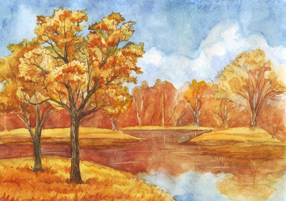 круглая картинки теплая осень карандашом своего