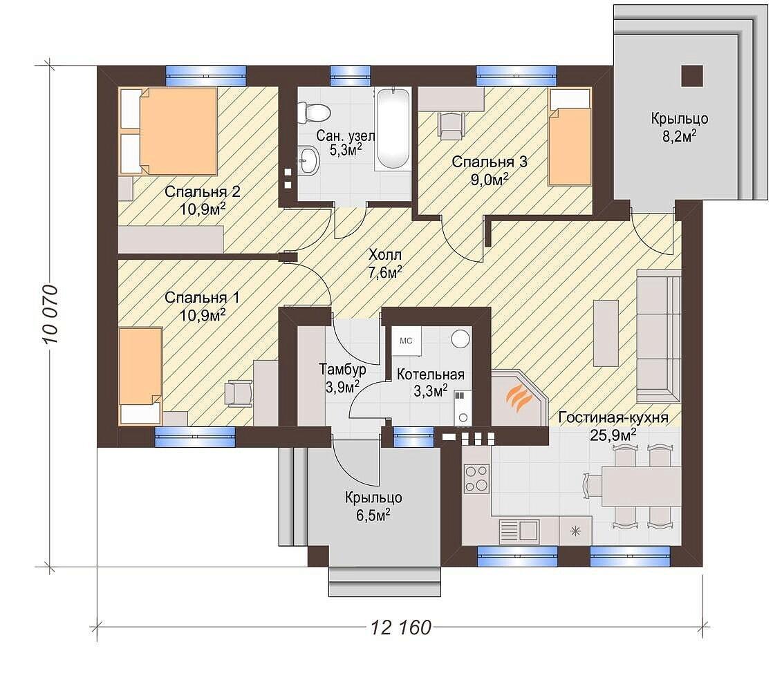 нас план одноэтажного дома с тремя спальнями фото гость получил