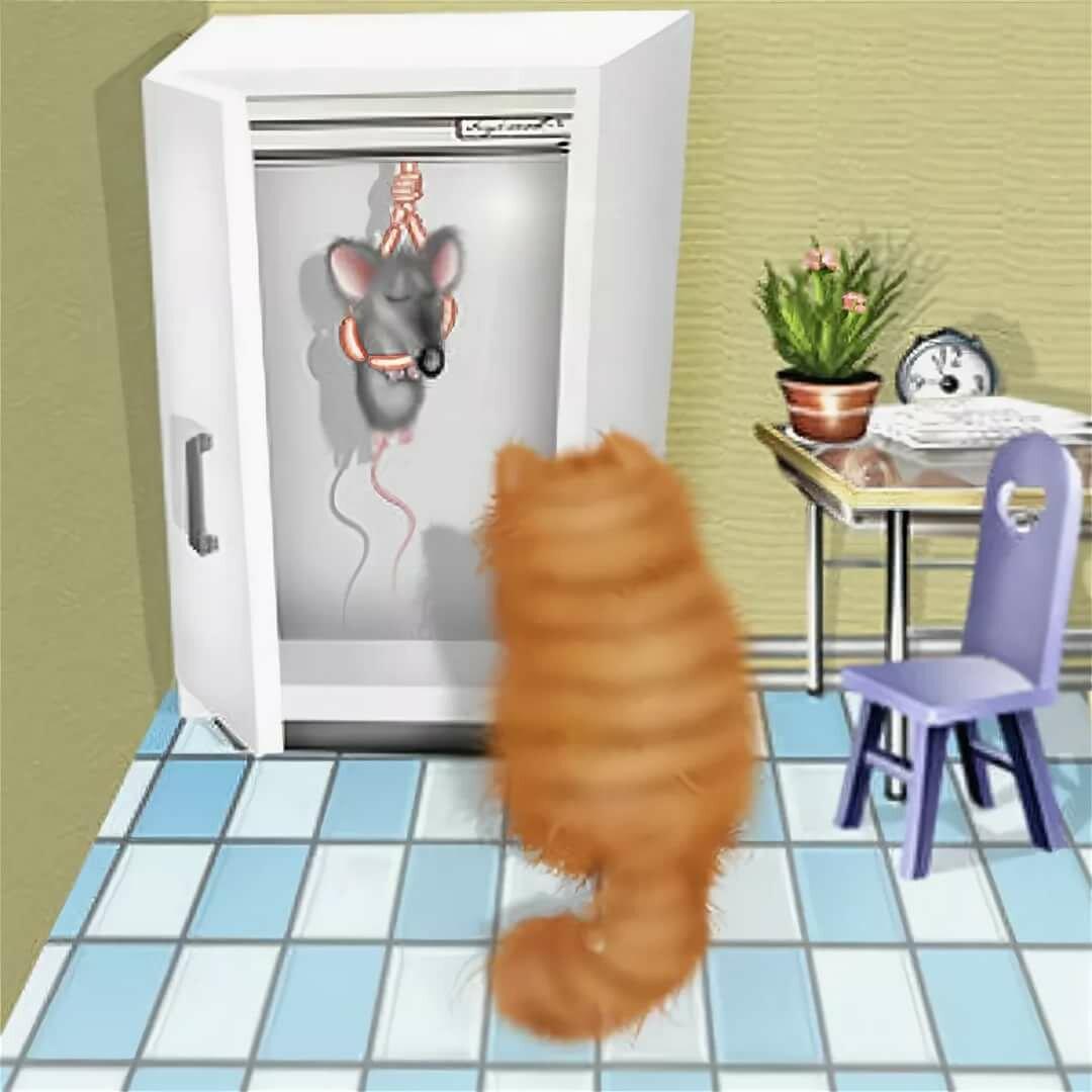 Гифка кот и холодильник