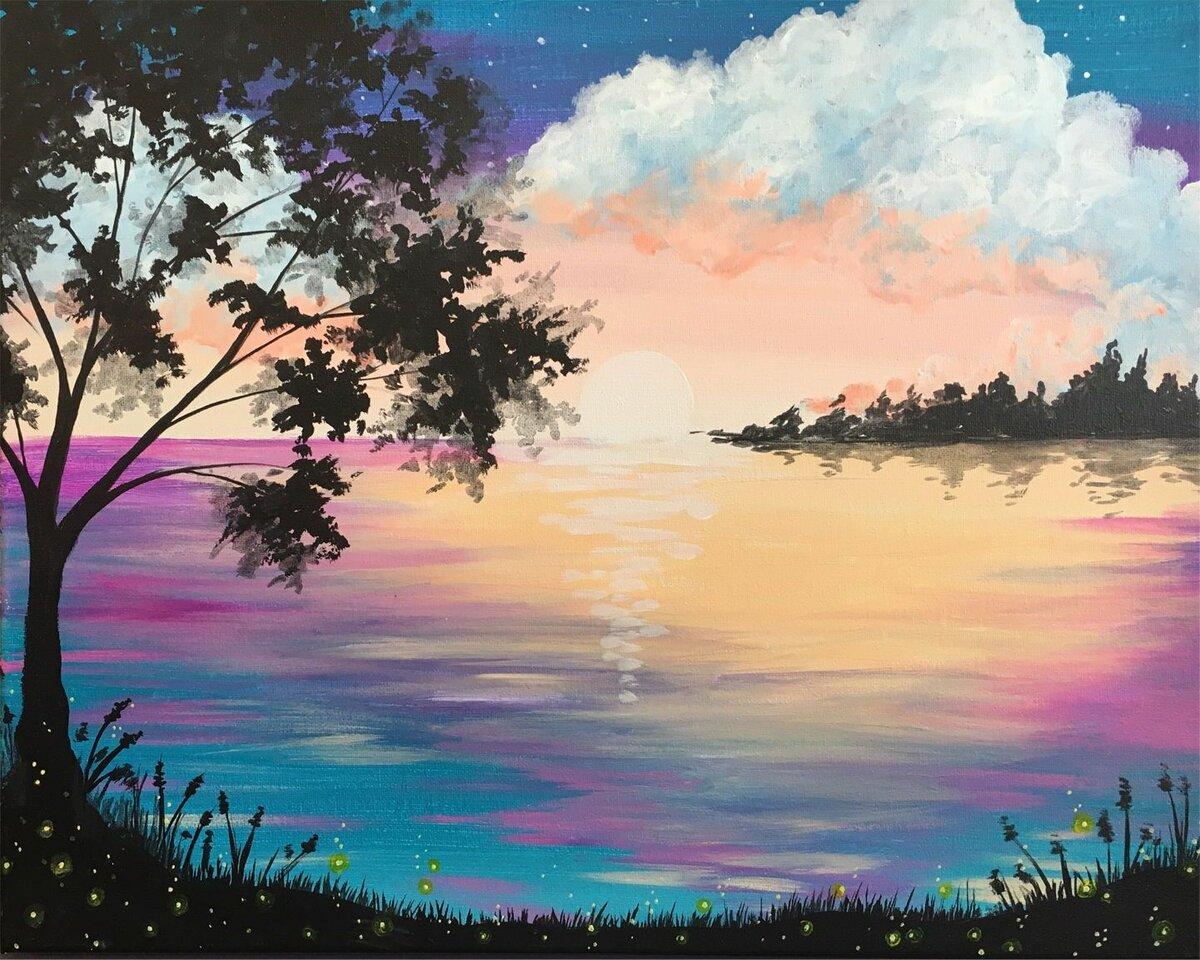 Картинки пейзажа гуашью