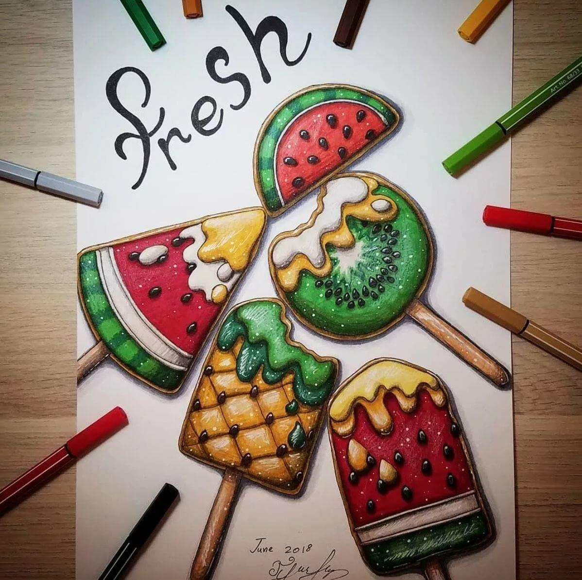 Красивые рисунки для срисовки легкие и крутые еда