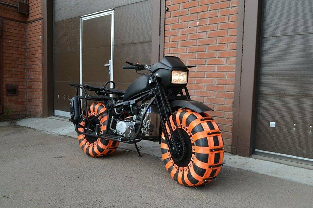 Полноприводный мотоцикл-вездеход Васюган 2WD на пневмоколёсах