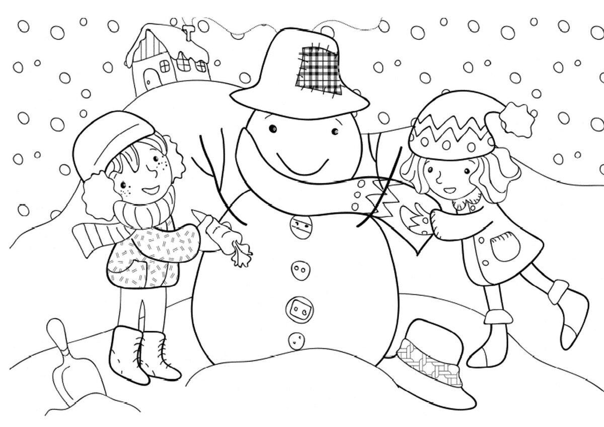 Картинки раскраски для детей о зиме