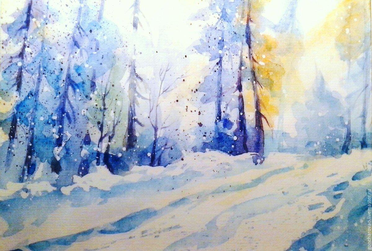 Картинки зимы акварель