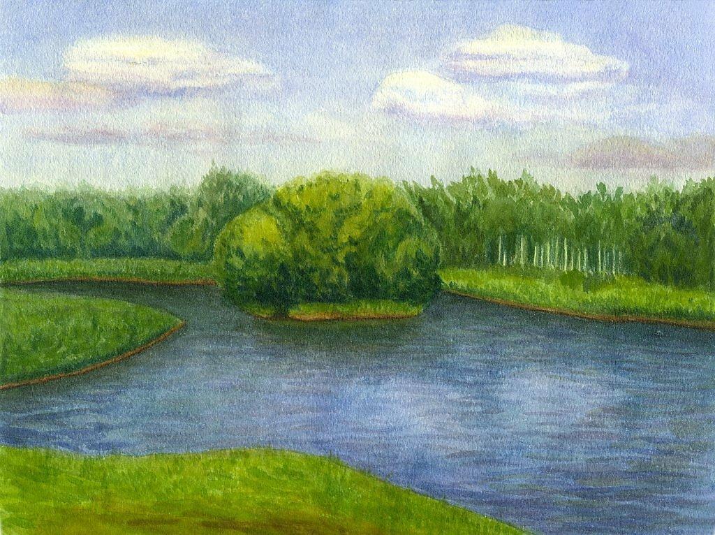 Рисунки пруда акварелью