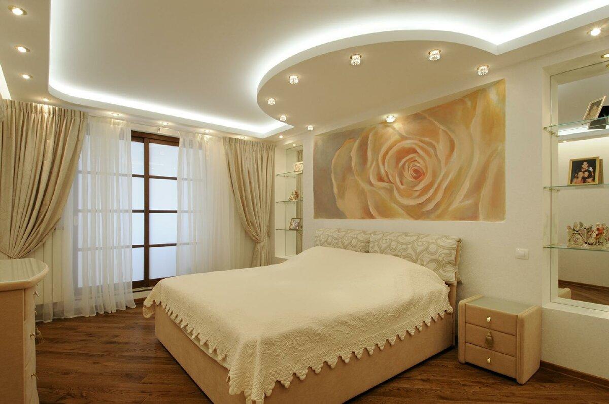 смотреть натяжные потолки фото в спальне такой случае