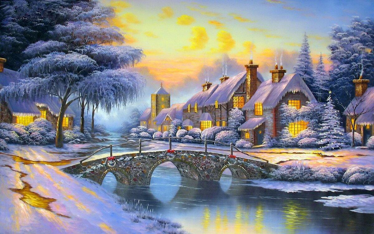 трудился зимний пейзаж открытки высокого разрешения получил свое название
