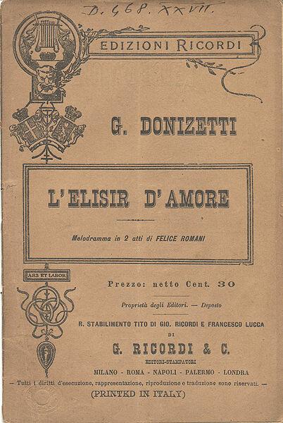 Гаэтано Доницетти – либретто оперы Любовный напиток на итальянском языке