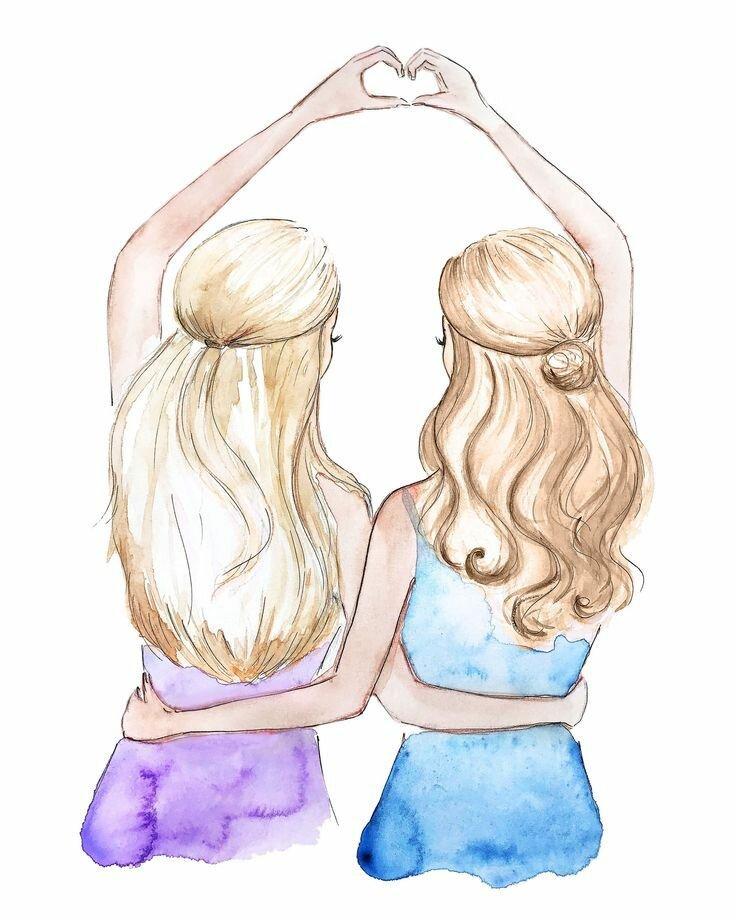 Картинка с подругой нарисованные