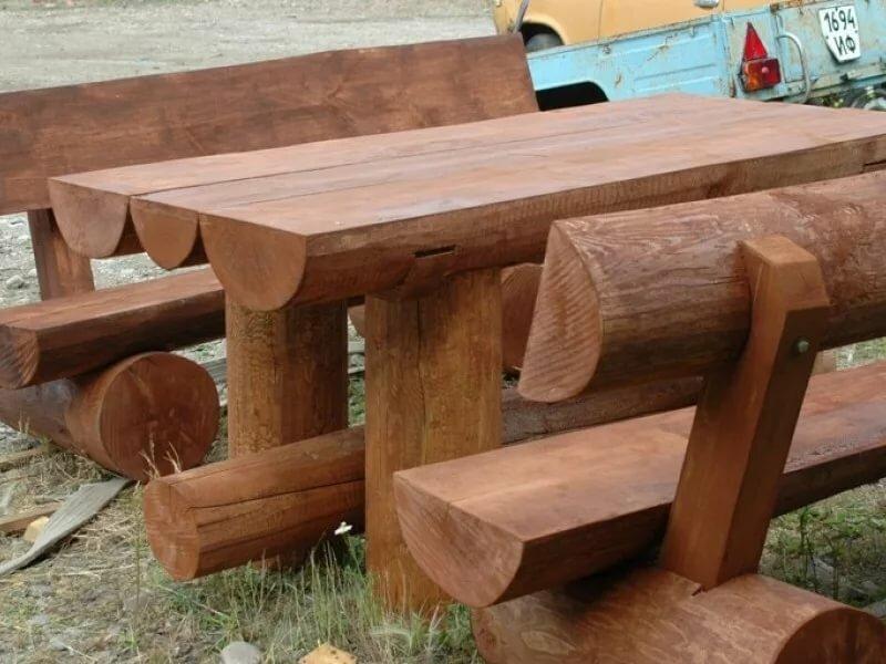 поэтому столица скамейки и столы из бревна фото домов октябрьск