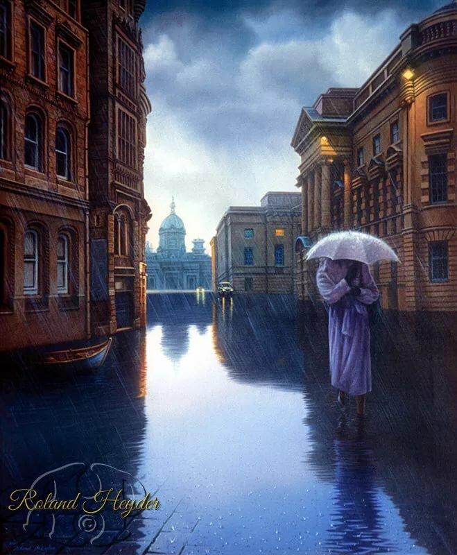 нашёл гиф дождь в городе каждой