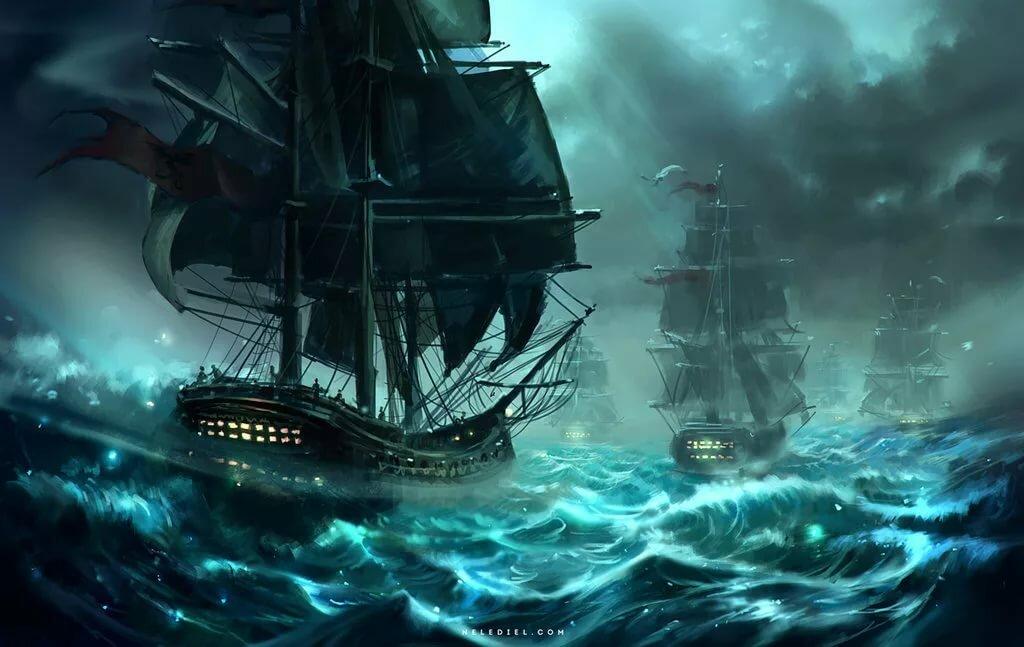 картинки пиратских парусников в шторм легкой непретенциозной