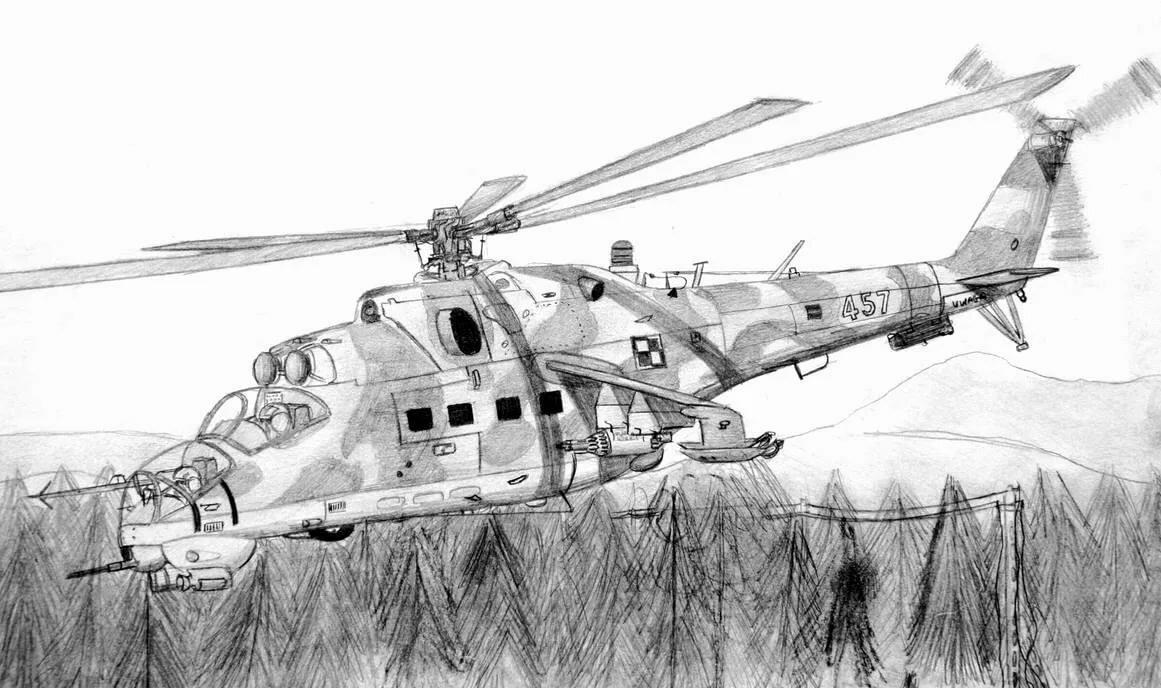 рисунки вертолетов карандашом военные построить