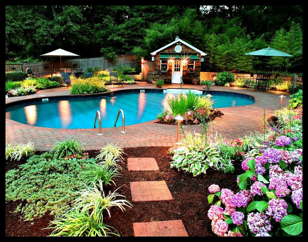 бассейн в саду картинка детям