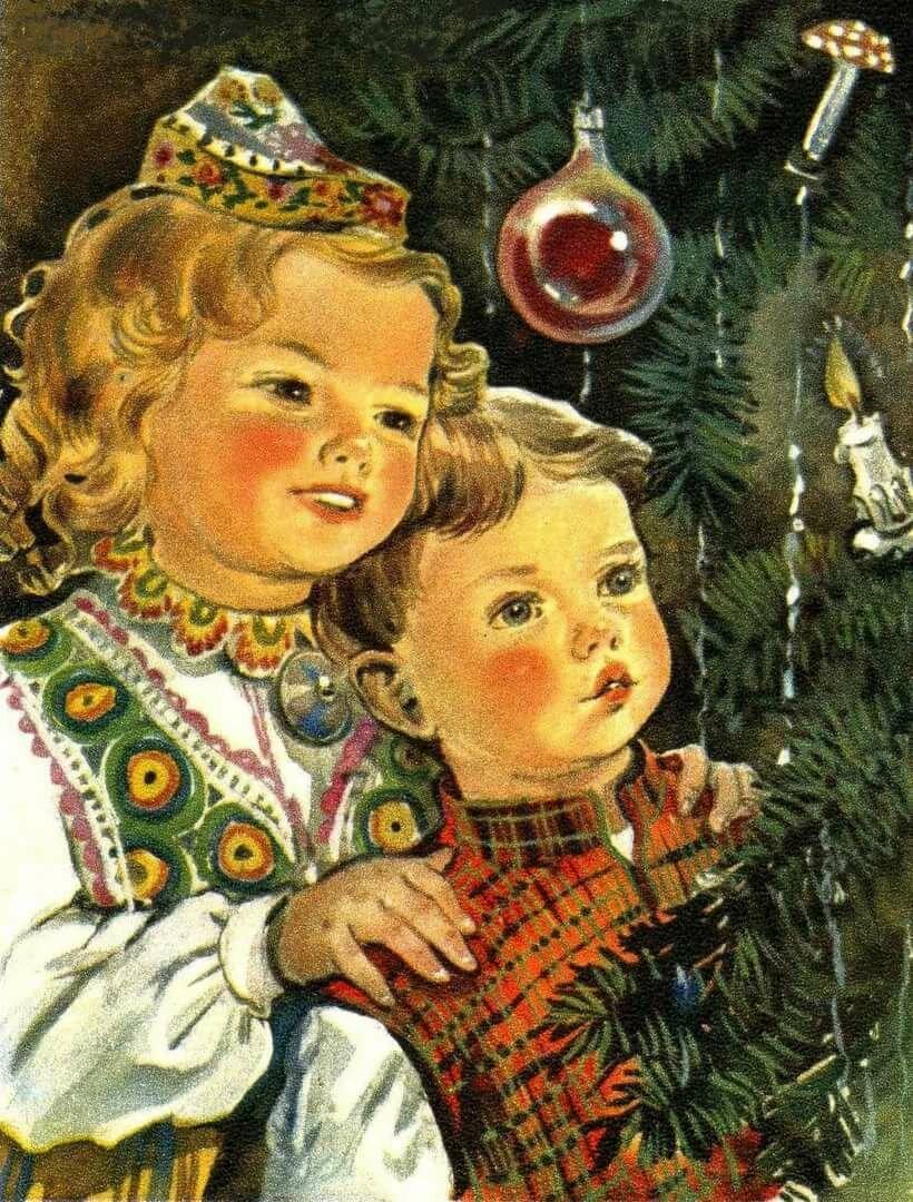Открытки ссср новый год дети