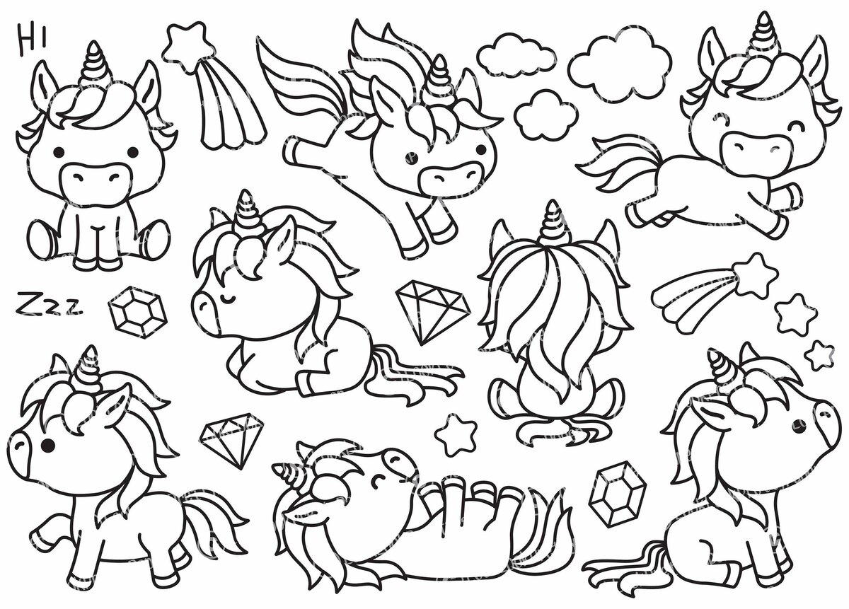 Kawaii Coloring Pages Unicorn