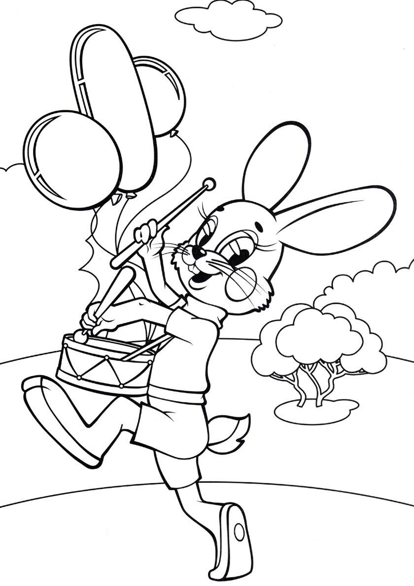 «Раскраска Заяц бьет в барабан распечатать Ну, погоди ...