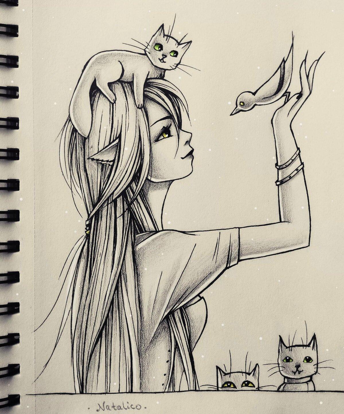 Картинки для срисовки на скетчбук девушки
