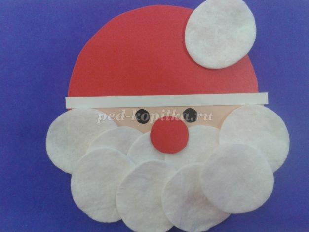 Добрым утром, дед мороз открытка из ватных дисков