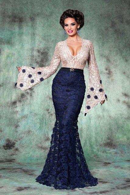 6fa61e6a99b360b ... Купить товар Сексуальная Длинным Рукавом Кружева Темно Синий Русалка Вечернее  Платье Длинные Вечерние Платья Марокканский Арабский
