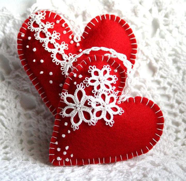 Открытка сердце из фетра