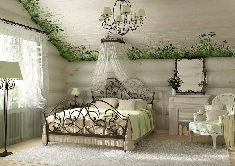 Кованая мебель для спальни на даче.