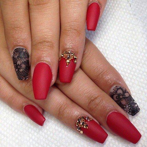 Матовые красные ногти дизайн фото