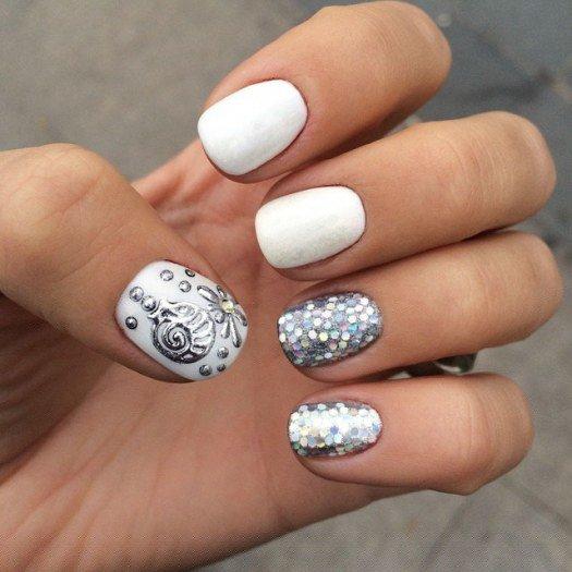 Дизайн ногтей гель белый