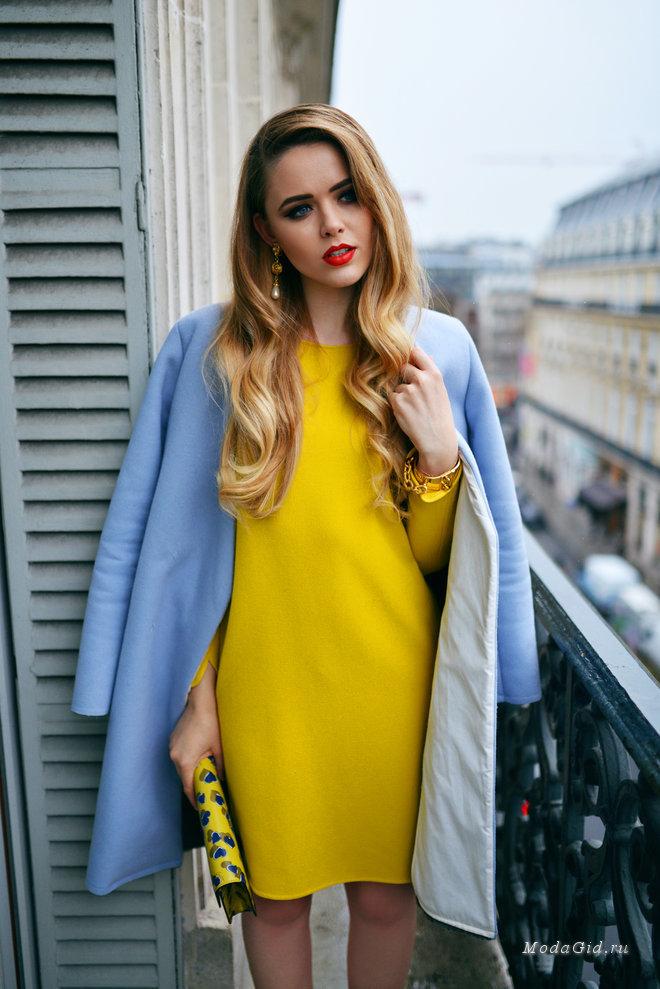 желтое платье с пиджаком