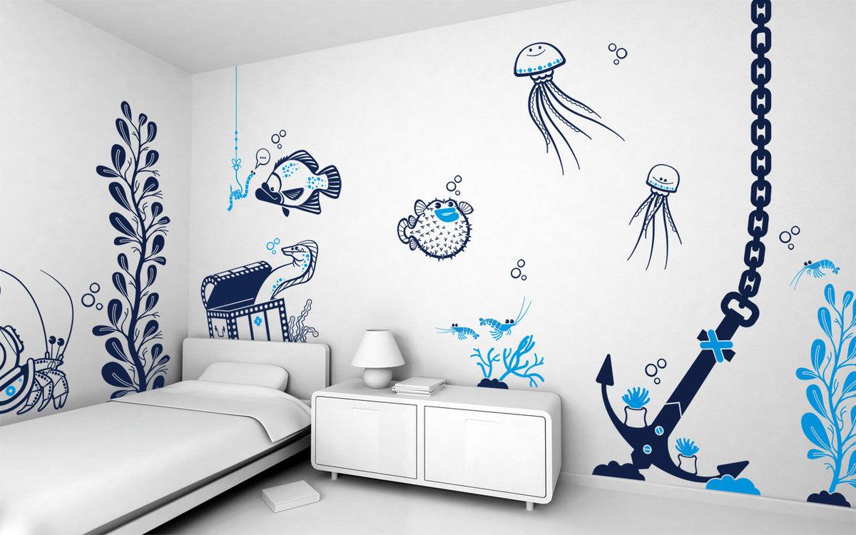 Рисунок на стене в детской комнате, приколами про
